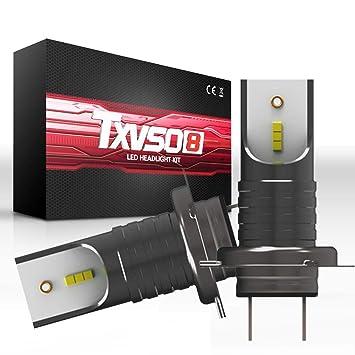 TXVSO 110W 12000LM H7 LED faro Kit de coche 6000 K lámparas blancas, ajuste para todo el coche H7, 55W / Bulb, 2pcs / Set: Amazon.es: Coche y moto