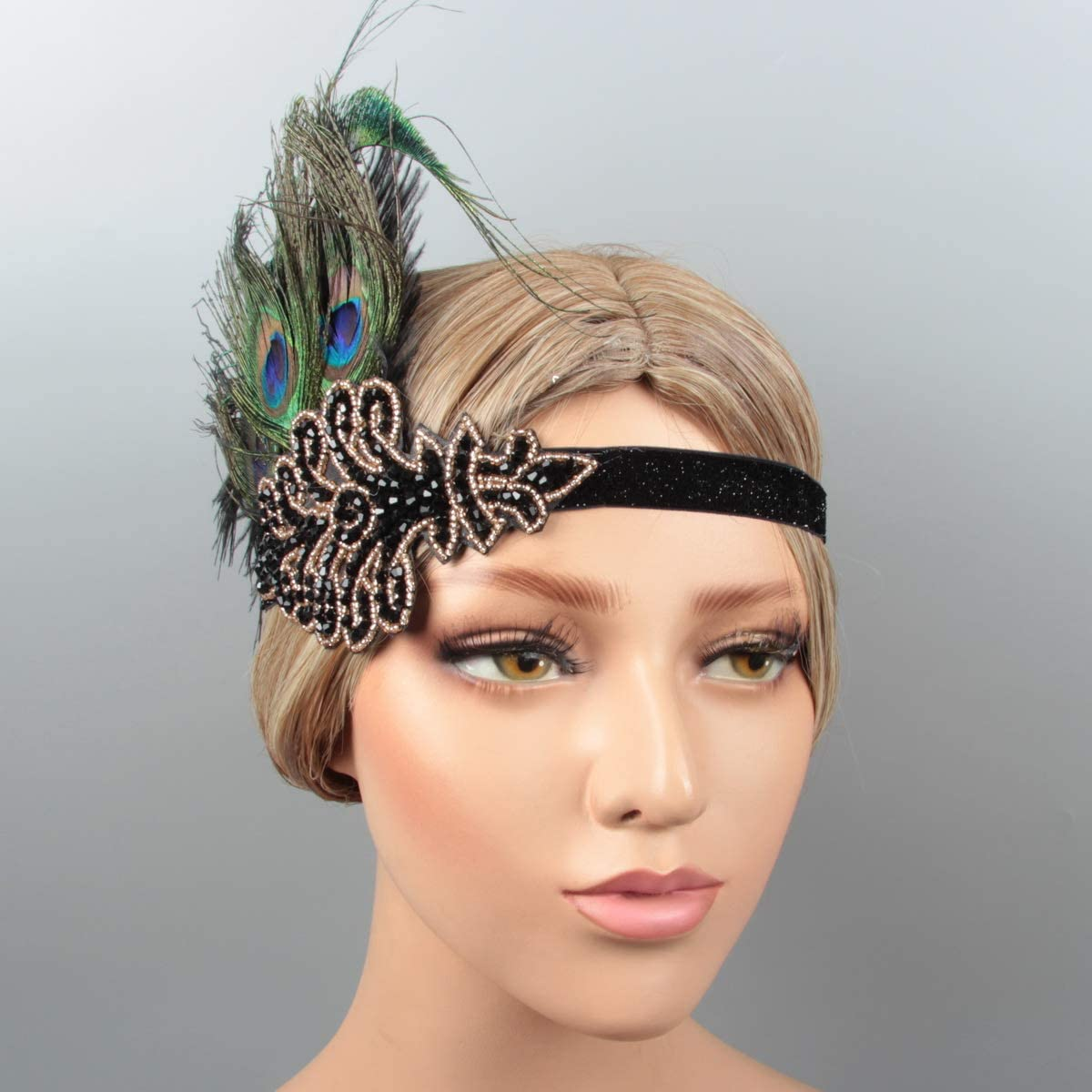 Vintage 1920s Gatsby Headpiece Flapper Headband with Beaded Applique for Women