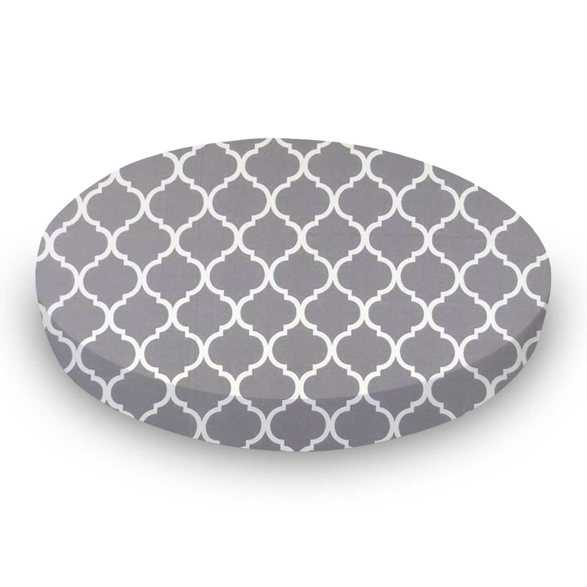 SheetWorld Fitted 100/% Cotton Percale Cradle Sheet 18 x 36 Grey Large Quatrefoil Made in USA