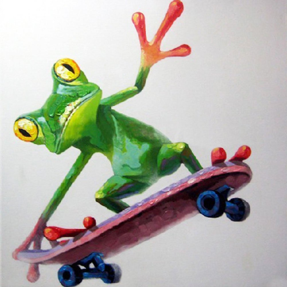 HandPainted Abstract Cartoon Animal Oil Canvas Painting Happy Frog Skateboarding Oil Painting Wall Art Picture Painting for Room 32x32 inch