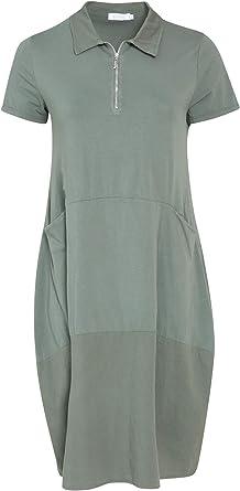 Paprika Femme Grandes Tailles Robe Boule Col Zippe Col Chemise Manches Courtes Paprika Amazon Fr Vetements Et Accessoires