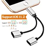 Lightning Jack Adapter Headphone for iphone 7 / 7 plus / 8 / X adapter,Dual Lightning Audio Headphone Adaptor iPhone 7.(Control Audio+Charge+Music+Call)Compatible for iOS 10.33/11.2or Later