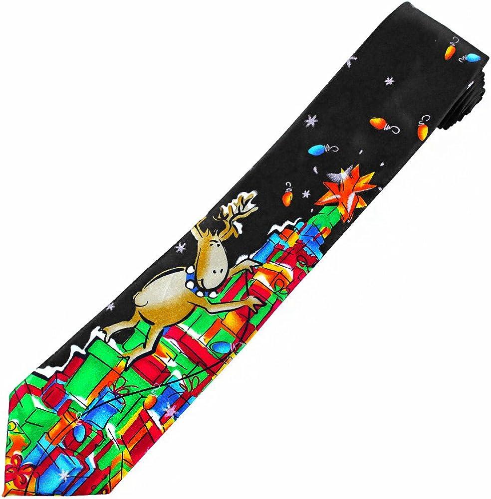 Jerry Garcia Men's Merry Christmas Neck Tie - Reindeer Climbing Stack of Gifts