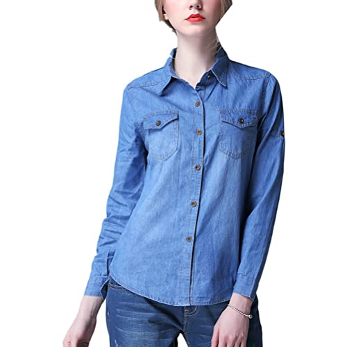 Zhhlaixing Camisas casuales Fashion Womens Classic Elastic denim Long Shirt Lapel Slim Long Sleeve T...