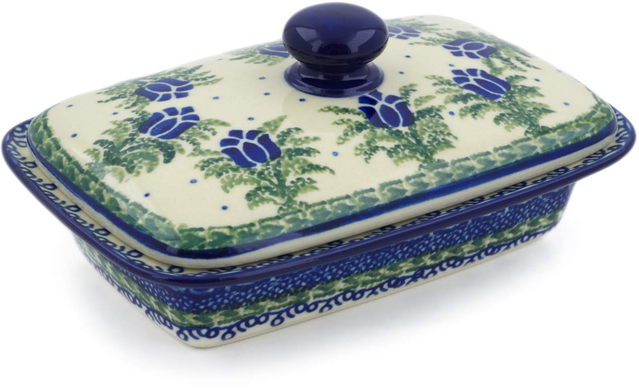 Polish Pottery 6½-inch Butter Dish made by Ceramika Artystyczna (Tulip Motif Theme) Signature UNIKAT + Certificate of Authenticity