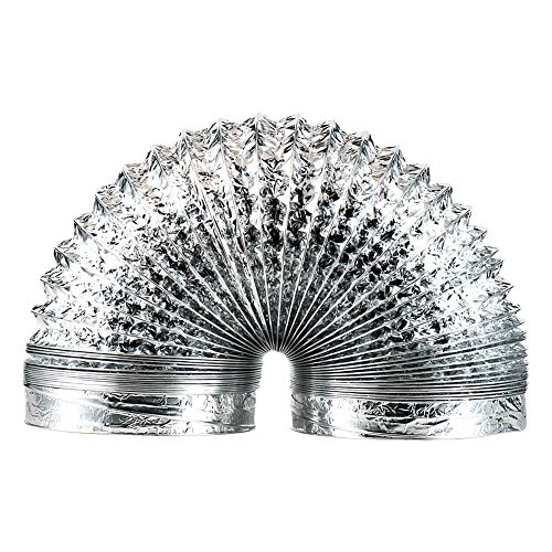 COOCANKE Flexible 6 inch 5ft Flex Aluminum Dryer Foil Vent Duct Non- Insulated Ventilation Tube 6