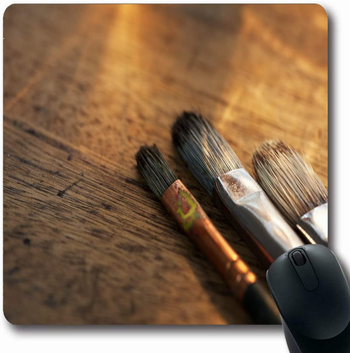 RWYZPAD Antique Fine Painting Brushes On Old Painters Aging Desk Artist Brush Gallery Vintage Stroke Design Oblong Shape 8.6 X 7.1 in Non-Slip Gaming Mouse Pad Rubber Oblong Mat