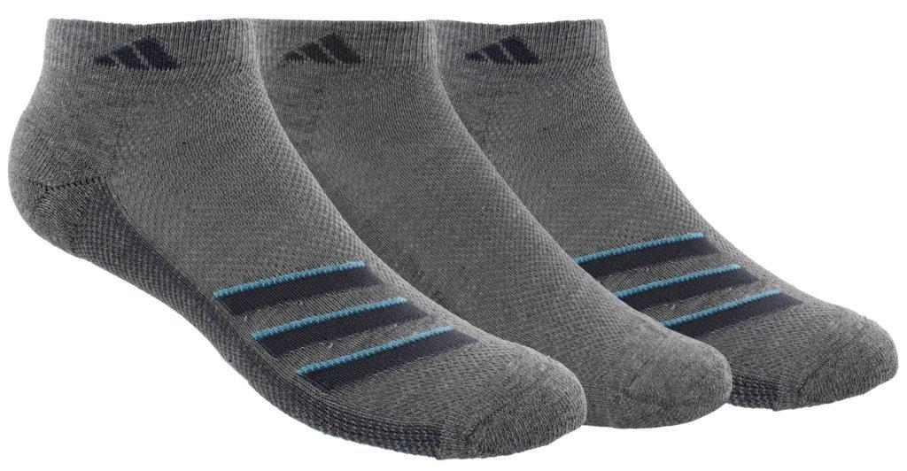 adidas Men's Climacool Superlite Stripe Low Cut Socks (3 Pack), Core Heather/Onix/Bright Cyan, Size 6-12