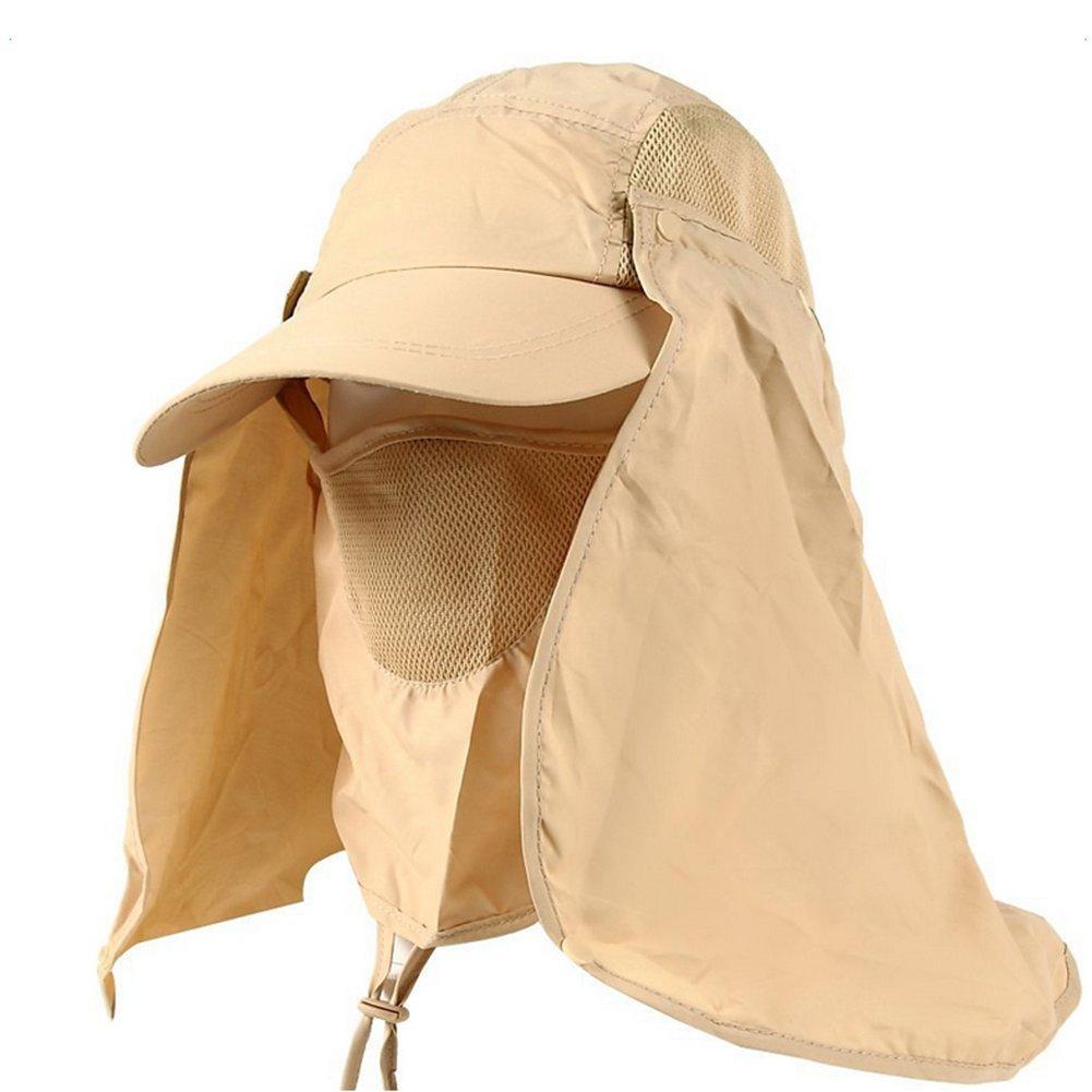 4e1daedab4e20 Leisial Sombrero Pesca del Sol Gorra al Aire Libre de Protección Solar  Transpirable Cap Sombrero de Ala Ancha Protección UV Protege Cuello Cara  para Hombre ...