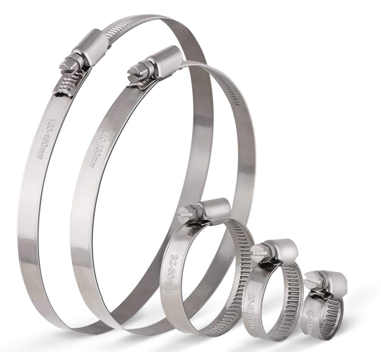 20 Pcs Collier de Serrage Ajustable en Acier Inoxydable Tuyau Pinces Clips Fixation avec 8-16mm 20-32mm 32-50mm 110-130mm 130-150mm de Cerceau Ton argent 1Plusselect