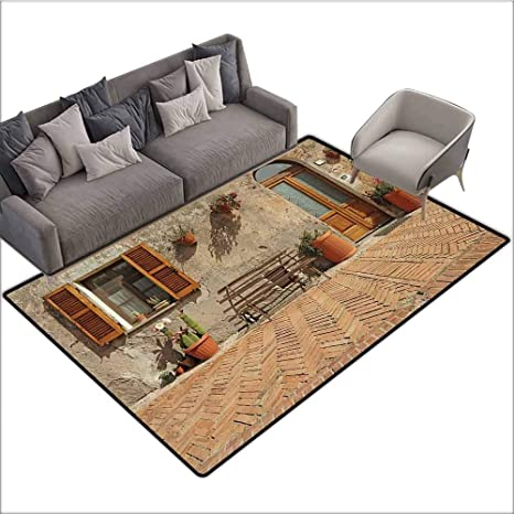 Anti Slip Coffee Table Floor Mats Tuscan Decor Collection Medieval Facade Italian Rustic Wooden Door Brick Wall In Small Village Peru Salmon 48 X 72 Silky Smooth Bedroom Mats Amazon Ca Home Kitchen