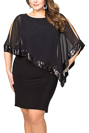 4eb3c0ed81ba1 Ancapelion Sequined Overlay Party Dress Chiffon Poncho Pencil Cocktail Mini  Dress (Plus-Black