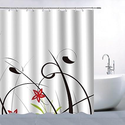 Grass Flower Shower Curtain Decor Red Green Black Grey 70 X