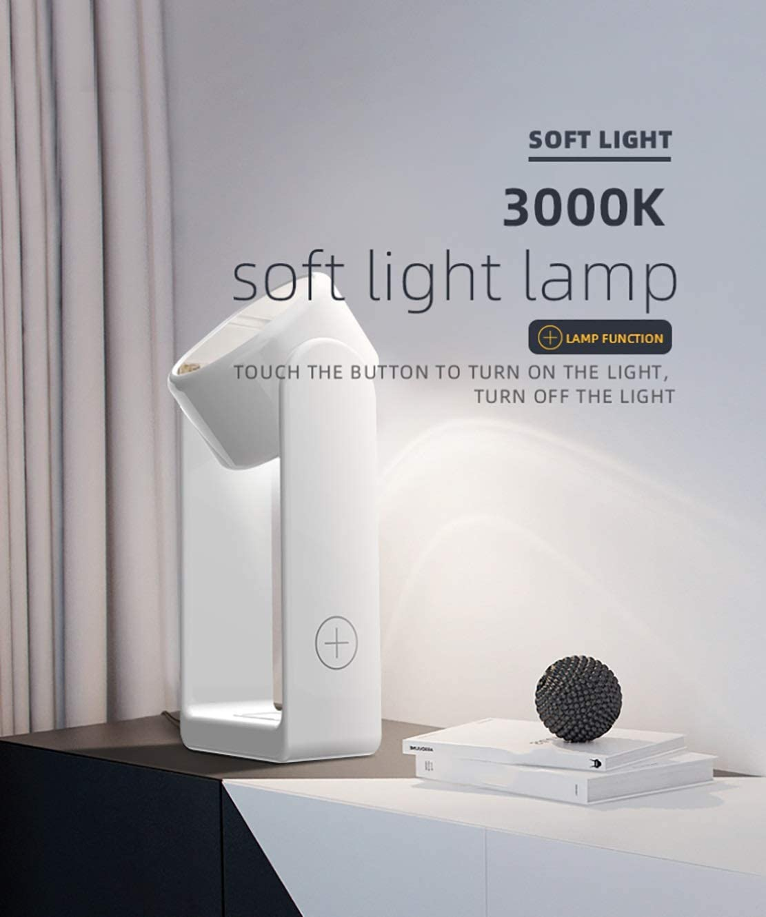 3 in 1 Ricarica Mobile, Multifunzionale LED Smart Touch Lampada cosmetico Specchio 360 ° Caricabatterie Wireless girante, Adatto for Qi dispositivi abilitati (Color : White) White