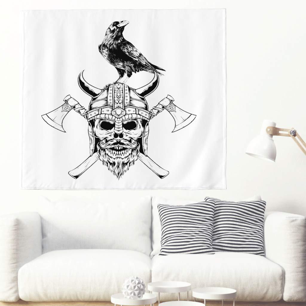 Alfombra de pared con diseño de cráneo vikingo y cuervo con dibujo ...