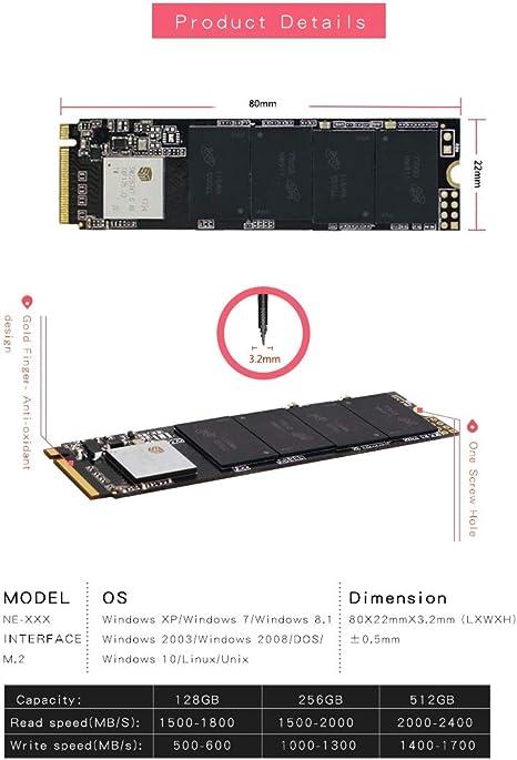 Kingspec 1 TB SSD NVMe M.2 PCIe x4 – hasta 2,4 Gb/s de lectura ...