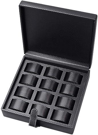 Premium 12 Cuadrícula Caja De Relojes, Cuero Estuche Exhibición para Relojes, Reloj Caja De Almacenamiento: Amazon.es: Relojes