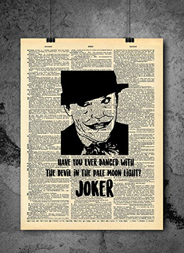 Batman Joker Art - Joker Jack Nicholson Super Villian - Vintage Dictionary Print 8x10 inch Home Vintage Art Abstract Prints Wall Art for Home Decor Wall Decorations Ready-to-Frame ()