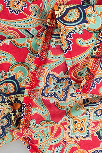 Babyonlinedress Vestido estampado largo de encaje estilo casual cuello V 1/2 manga cintura alta con un cinturón fino vestido para fiesta viaje estampado rojo