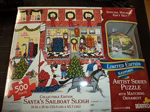 Artist Series Puzzle with Matching Ornament Santas Sailboat Sleigh