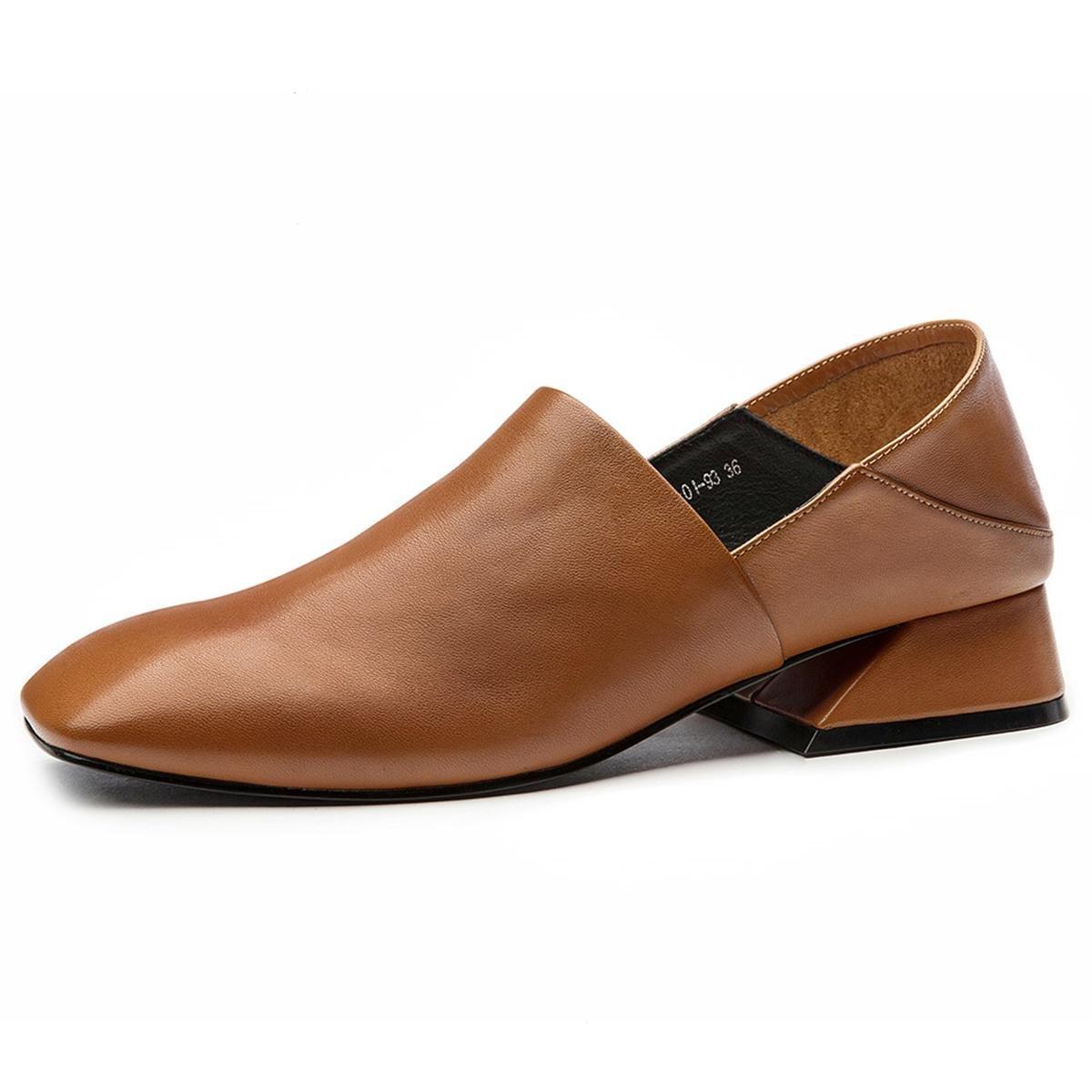 Damen Neue Mode Einzel Schuhe Lazy Half Pantoffeln Retro Rough Mid Heel Runde Kopf Echtes Leder Anti-Rutsch Dämpfung Herbst Winter Work Party