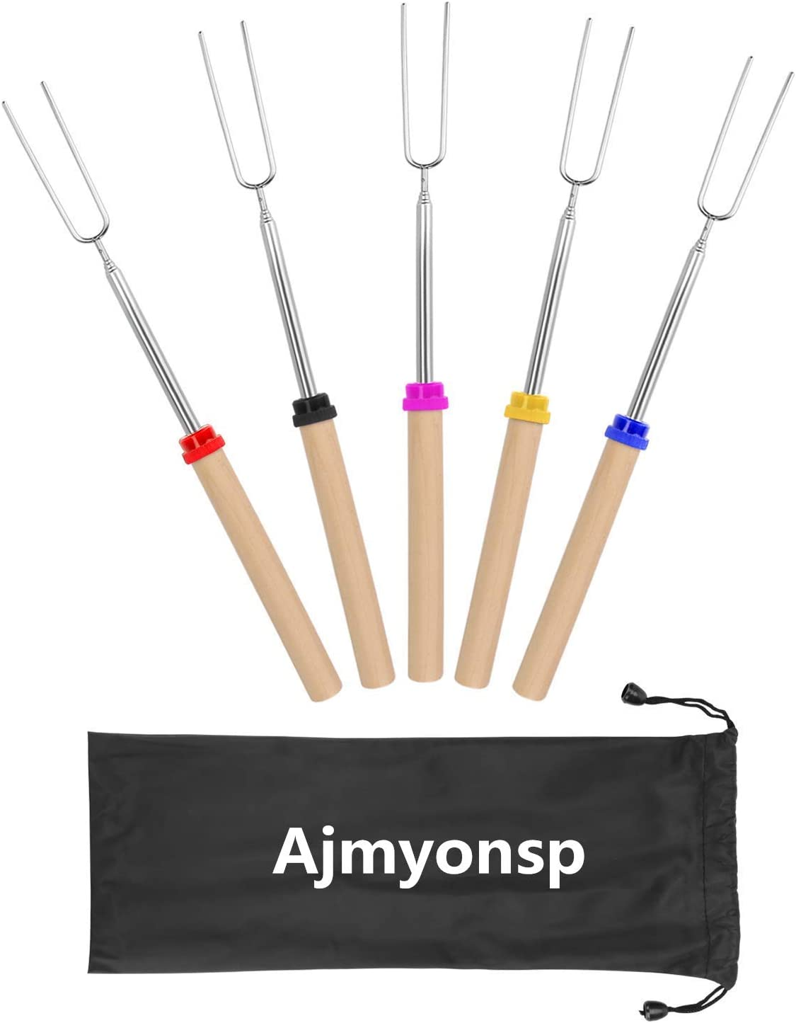 VLFriday Marshmallow Roasting Sticks with Wooden Handle Extendable Forks Set of 5 PcsTelescoping Smores Skewers for Campfire Firepit and Sausage BBQ 32 Inch
