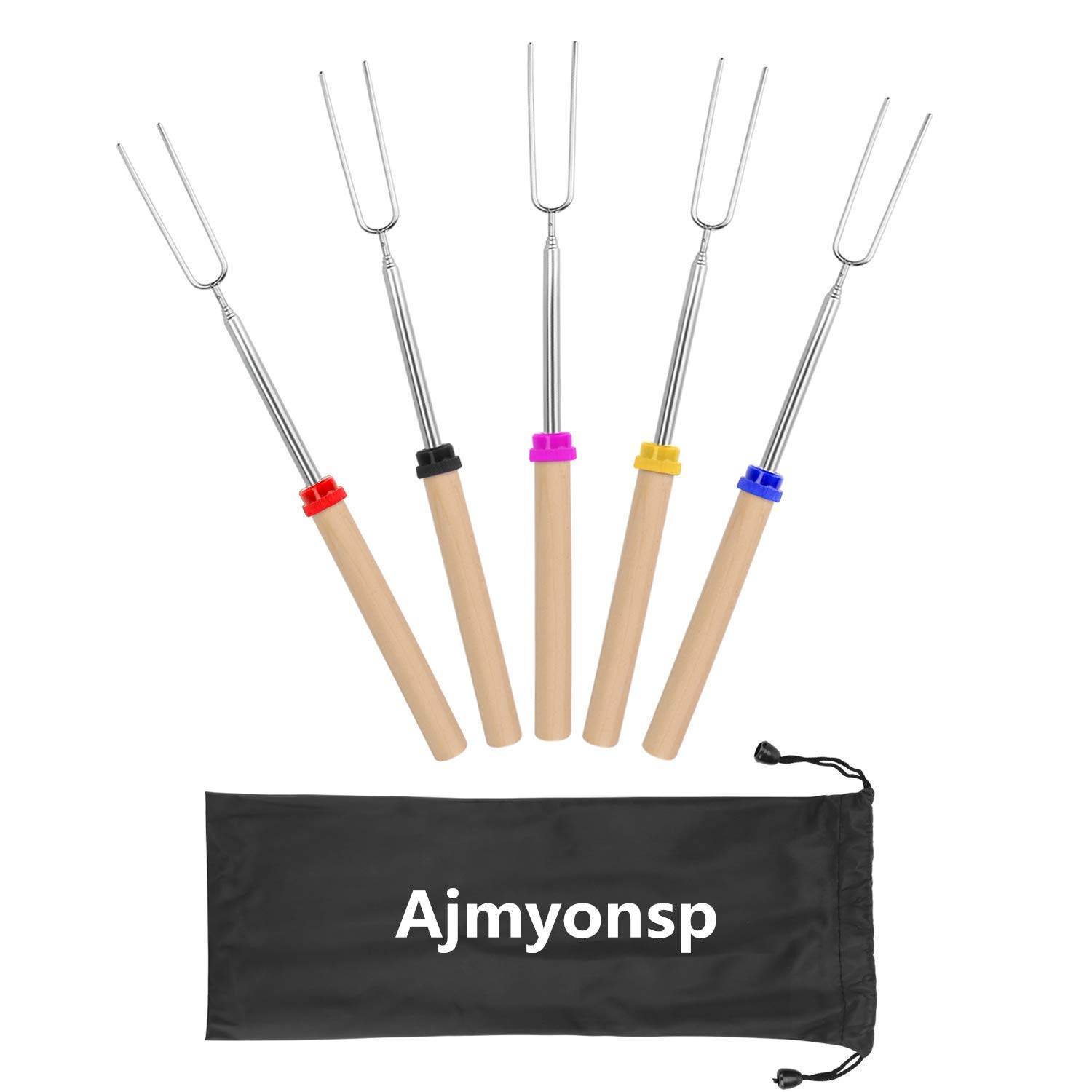Ajmyonsp Marshmallow Roasting Sticks with Wooden Handle Extendable Forks Set of 5 Pcs Telescoping Smores Skewers for Campfire Firepit and Sausage BBQ, 32 Inch