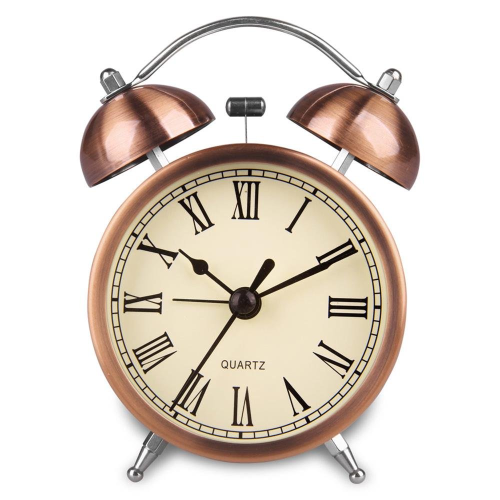 Hersent Retro Twin Bell Alarm Clock Vintage Non Ticking Bedside Morning Wake-up Clock Battery Powered Night-light Loud Alarm Clocks with Bright Copper Color HA41 (3 inch Roman Number)