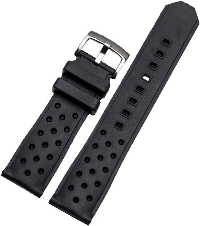 Correa para reloj deportivo de silicona negra de 22 mm con hebilla: Amazon.es: Relojes