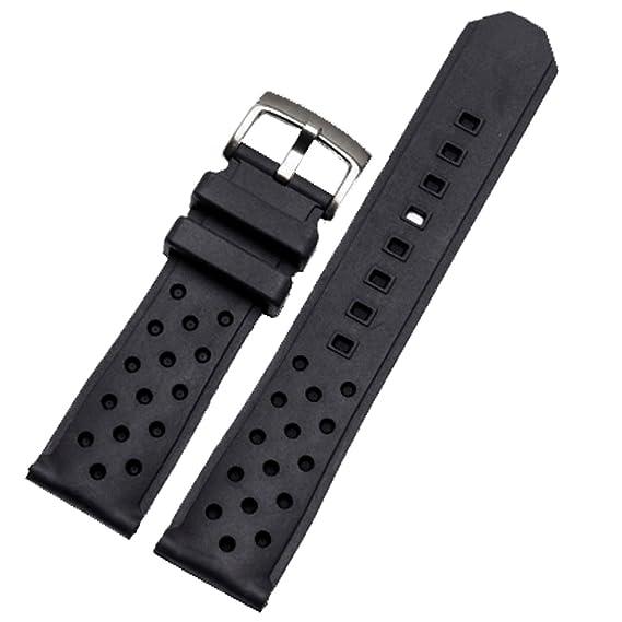 Correa para reloj deportivo de silicona negra de 22 mm con hebilla