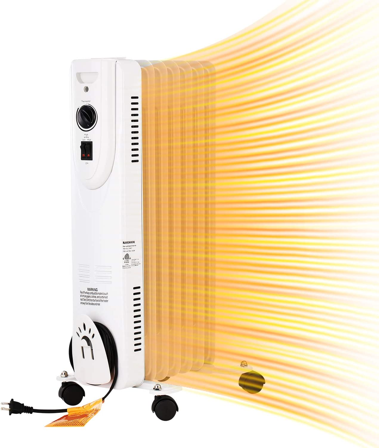 1500W Oil Filled Heater with thermostat Portable Radiator Space Heater with 2 Heat Settings, Energy Saving(White)
