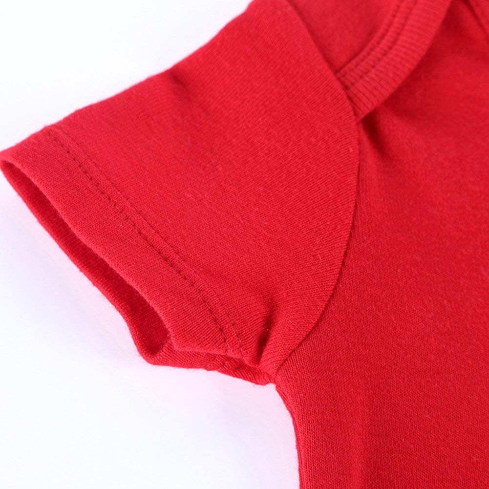 Wintefei 5Pcs Summer Baby Boy Girl Romper Short Sleeve Letter Animal Print Jumpsuit