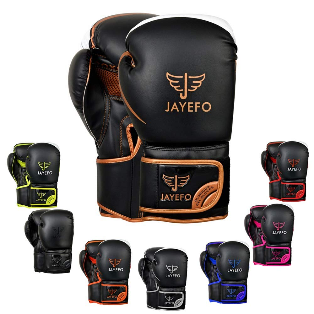 Jayefo Glorious Boxing Gloves Muay Thai Kick Boxing Leather Sparring Heavy Bag Workout Pro Leather Gloves Mitts Work for Men /& Women