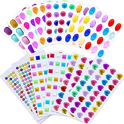 - Selizo Craft Gems Self Adhesive Rhinestones Stickers Jewel Stickers Craft Jewels Stick On Gems Bling Crystal Diamond Stickers for Crafts, Assorted Shapes, Sizes and Colors (658Pcs, 14 Sheets)