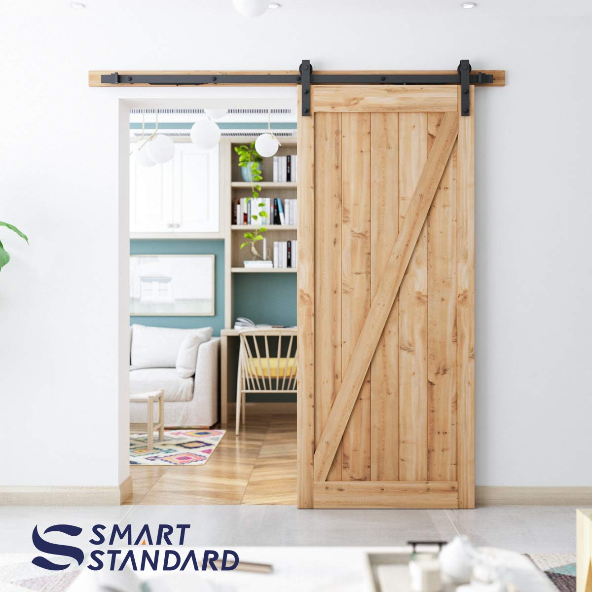 6.6ft Soft Close Heavy Duty Sturdy Sliding Barn Door Hardware Kit - Smoothly and Quietly - Simple and Easy to Install - Includes Step-By-Step Installation Instruction -Fit 36''-40'' Door Panel(J Shape) by SMARTSTANDARD (Image #4)