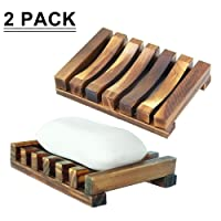 Deals on 2-Pack SAYGOGO Bathroom Wooden Soap Case Holder