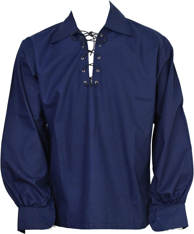 Scottish Dark Green Jacobite Ghillie Kilt Shirt Leather Cord Sizes S,M,L,XL,XXL