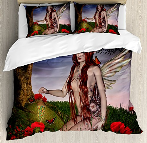 Ambesonne Fantasy Duvet Cover Set Queen Size  Redhead Fairy With Wings Holding A Butterfly Catcher Lantern Surrounded By Poppies  Decorative 3 Piece Bedding Set With 2 Pillow Shams  Multicolor