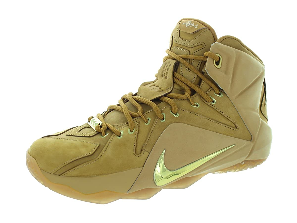 Nike Men s Lebron XII Ext Qs Wheat Metallic Gold Wheat Basketball Shoe