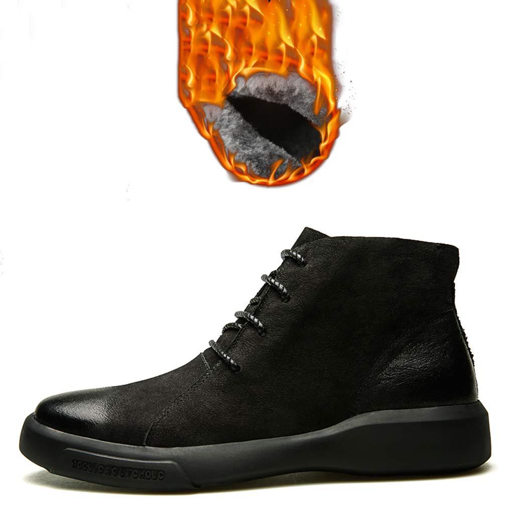 Martin Stiefel, Herren Herbst und Winter Flut Lederstiefel - Retro Stiefel in der Mitte - Werkzeug Schuhe - und SAMT-Stil