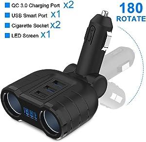 Quick Charge 3.0 Car Charger Splitter Adapter, Rocketek 2 Sockets Cigarette Lighter Splitter 90W 12V/24V DC Outlet with LED Voltage Display Three USB Port for Smartphone Tablet GPS Dash Cam Tomtom