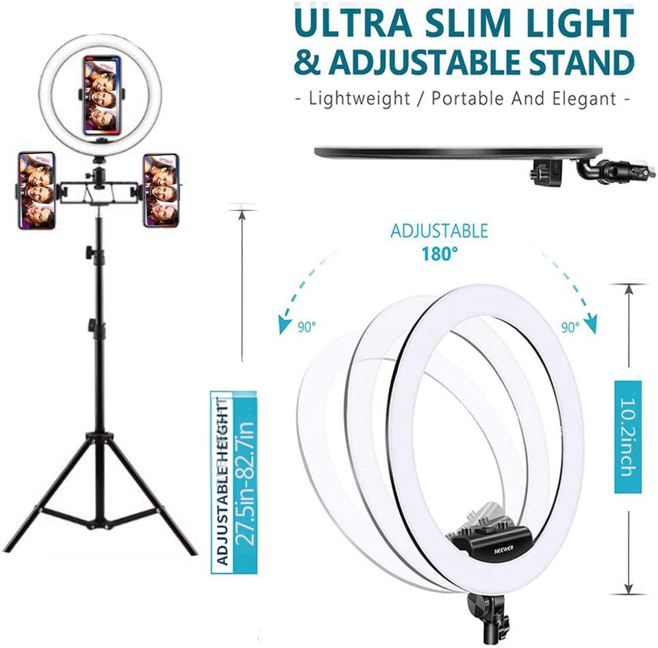 3 Light Modes Mini Led Light Photography Camera Photo Video Lightning Kit for YouTube Makeup Live Streaming, ,Singleposition,82.7inch DelongKe LED Ring Light
