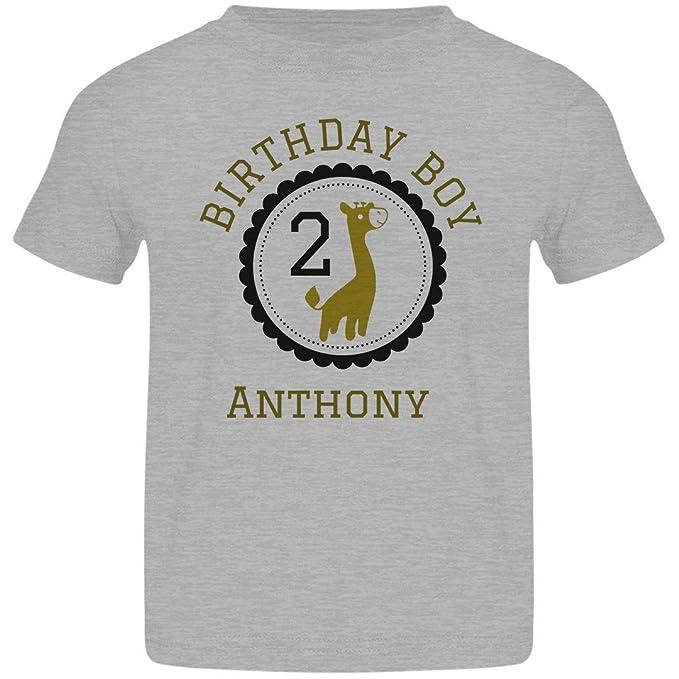ORG Anthony 2nd Birthday Boy Giraffe Tee Basic Jersey Toddler T Shirt Clothing