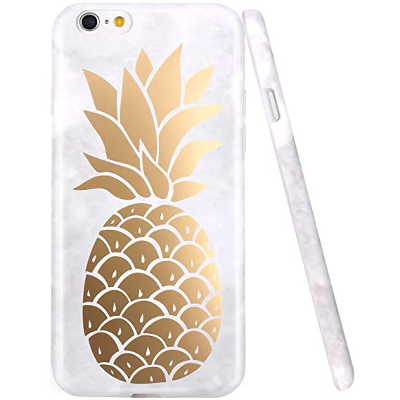 brand new 141c1 676ff iPhone 6 Case, iPhone 6S Case, JAHOLAN Shiny Gold Cute Pineapple Marble  Design Clear Bumper TPU Soft Rubber Silicone Cover Phone Case for iPhone 6  ...