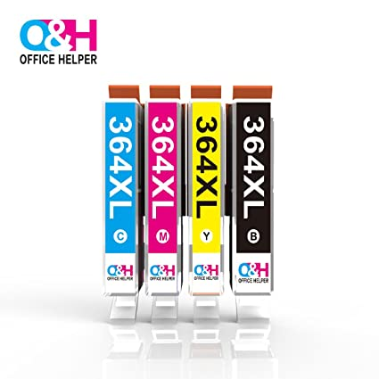 OFFICE HELPER - 364 364XL Cartuchos de tinta (1*Negro, 1*Cian, 1*Magenta, 1*Amarillo), Compatibles con Impresoras Photosmart 5510 5520 5522 6520 B8550 ...