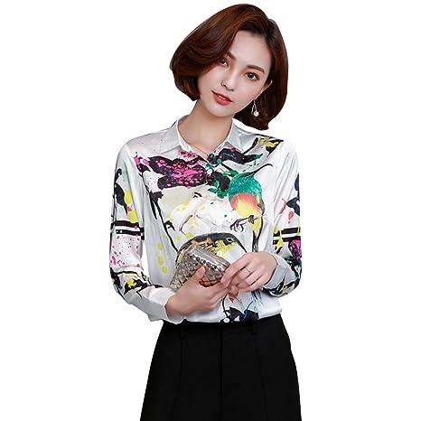 Camisa Seda para mujer camisa camiseta camiseta manga larga elegante moda flores blancas blusa, mujer