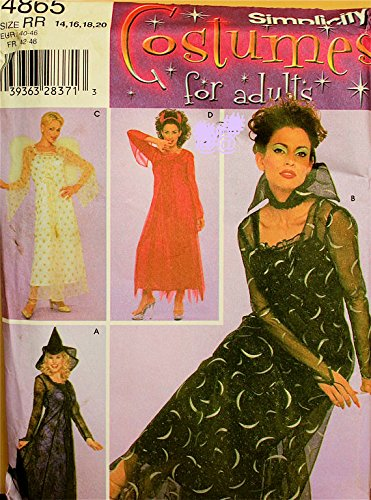 Simplicity 4865 Misses Vampire, Witch, Devil & Angel Costumes Sewing Pattern Sizes 14-16-18-20 Bust 36-38-40-42