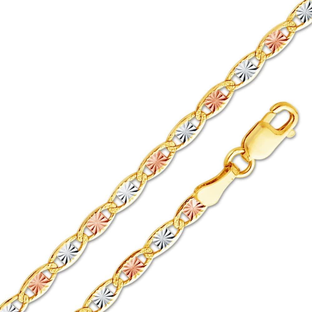 Sonia Jewels 14k White Yellow and Rose Three Color Gold Hollow Half Round Box Chain Necklace With Lobster Claw Clasp