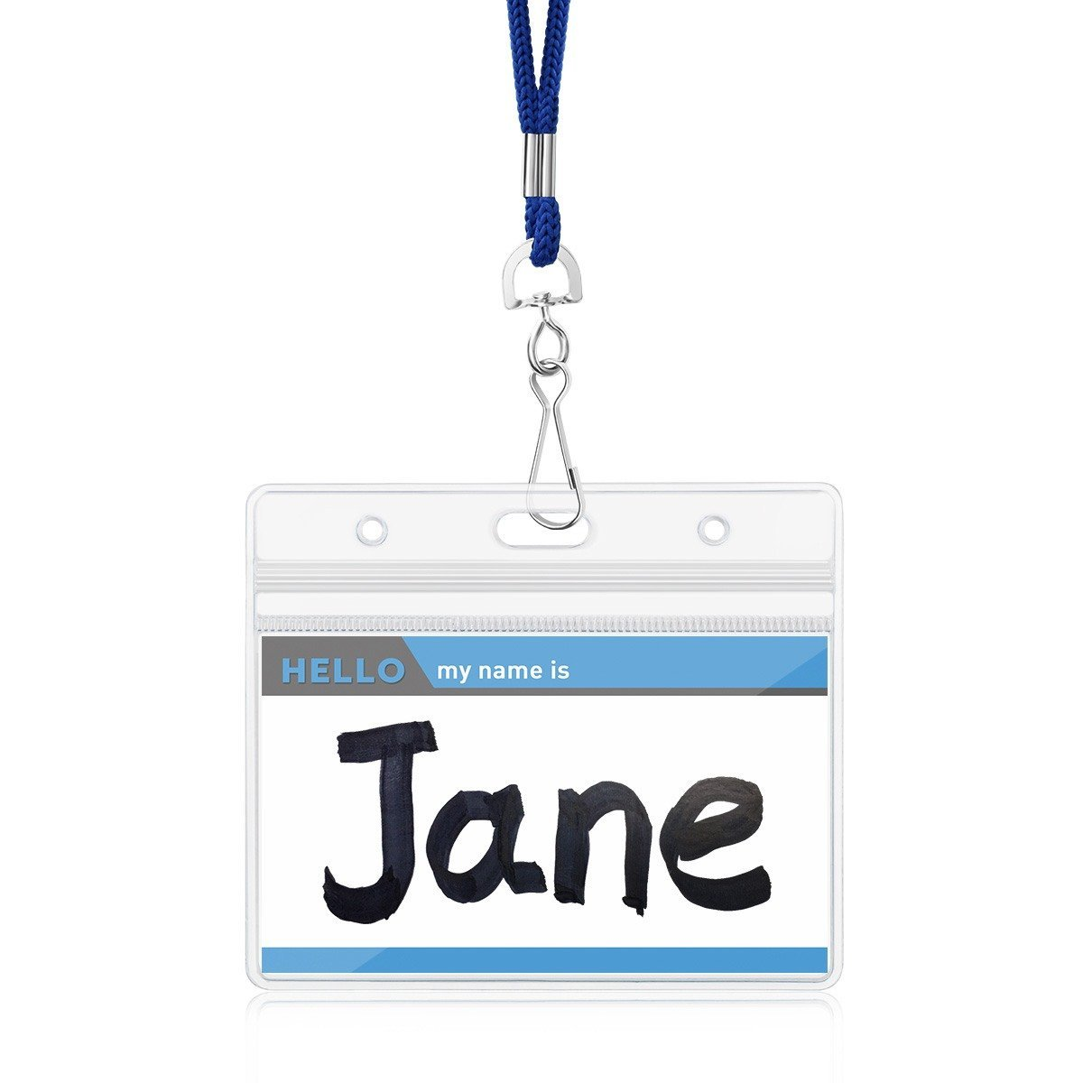Royal Blue, 25 Pack Name Badge Holders with Lanyards Clear Plastic Horizontal Name Tag Holder Waterproof ID Card Holders by ZHEGUI