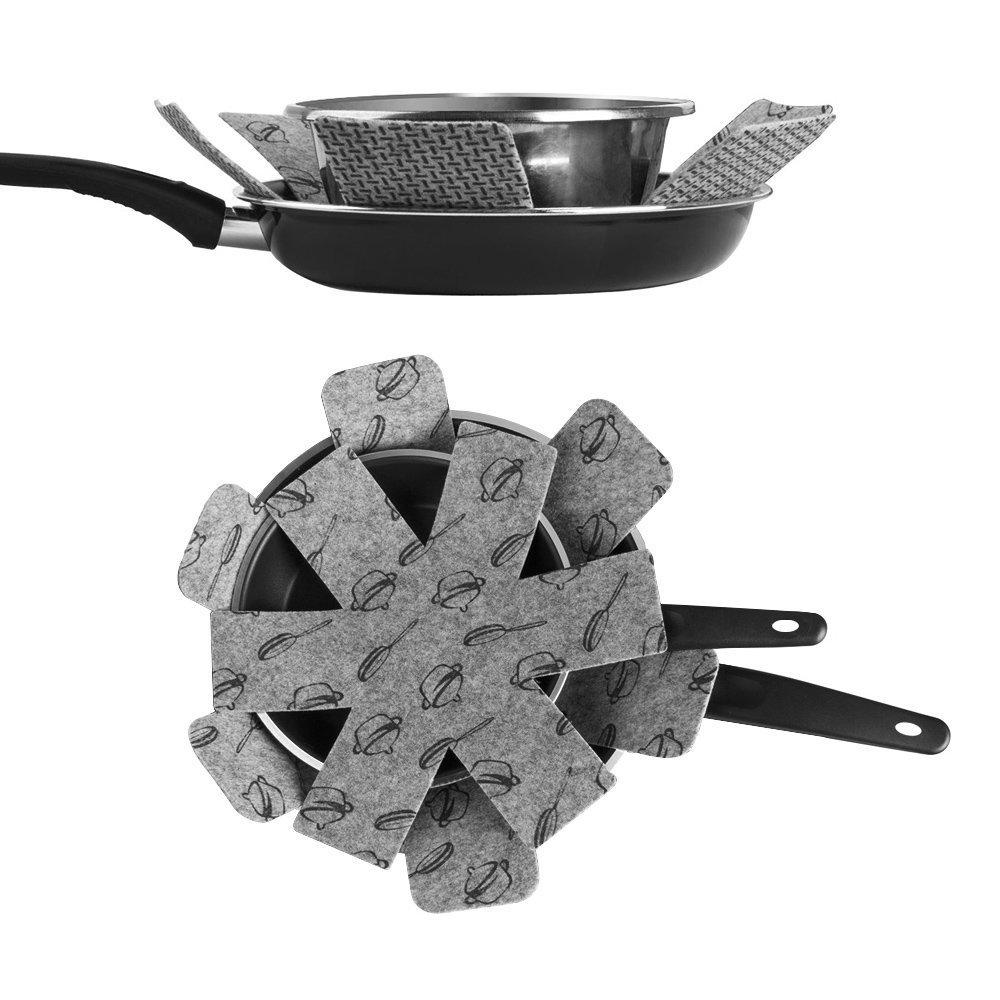 Protector Sartenes 9 Piezas, Sartenes Cacerola Sartén apilables, Fieltro para olla, cacerola, 3 tamaños: Amazon.es: Hogar